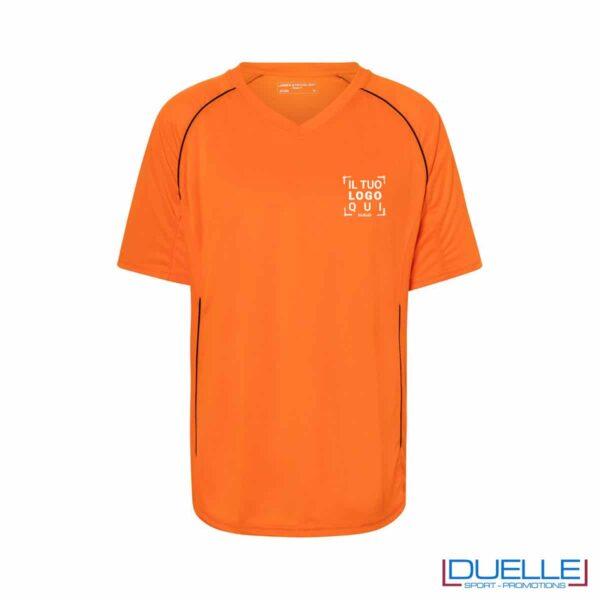 T-shirt calcio colore arancione personalizzabile