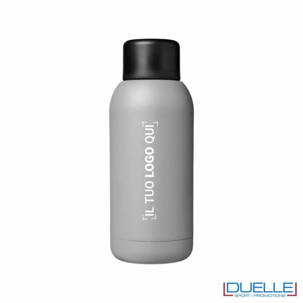 Borraccia termica sport 375ml colore grigio personalizzata