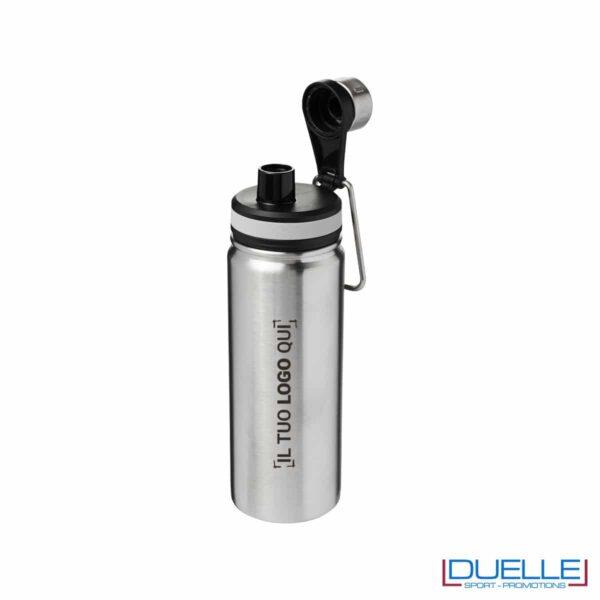 Borraccia termica sportiva 590 ml colore silver personalizzata