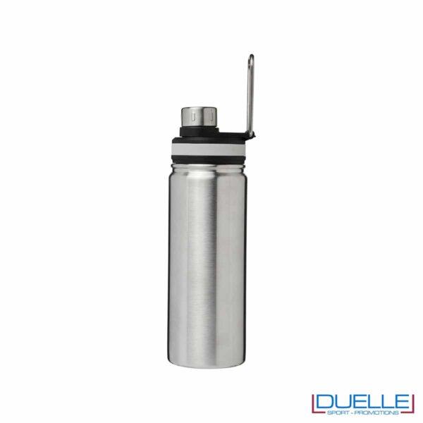 Borraccia termica sportiva 590 ml colore silver con manico per trasporto