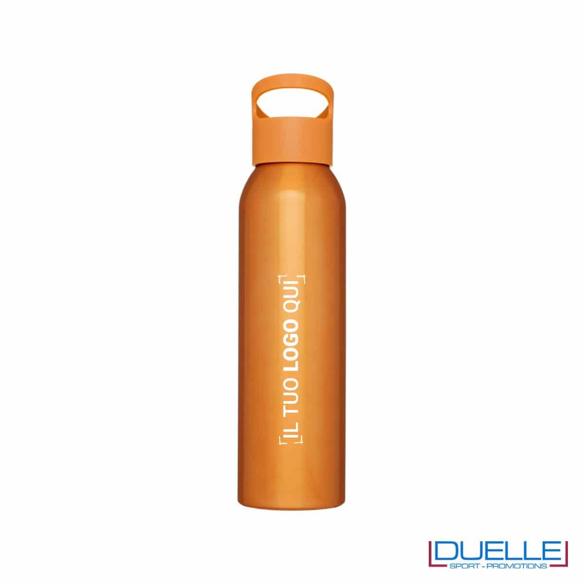 Borraccia alluminio colore arancione con tappo in plastica personalizzata