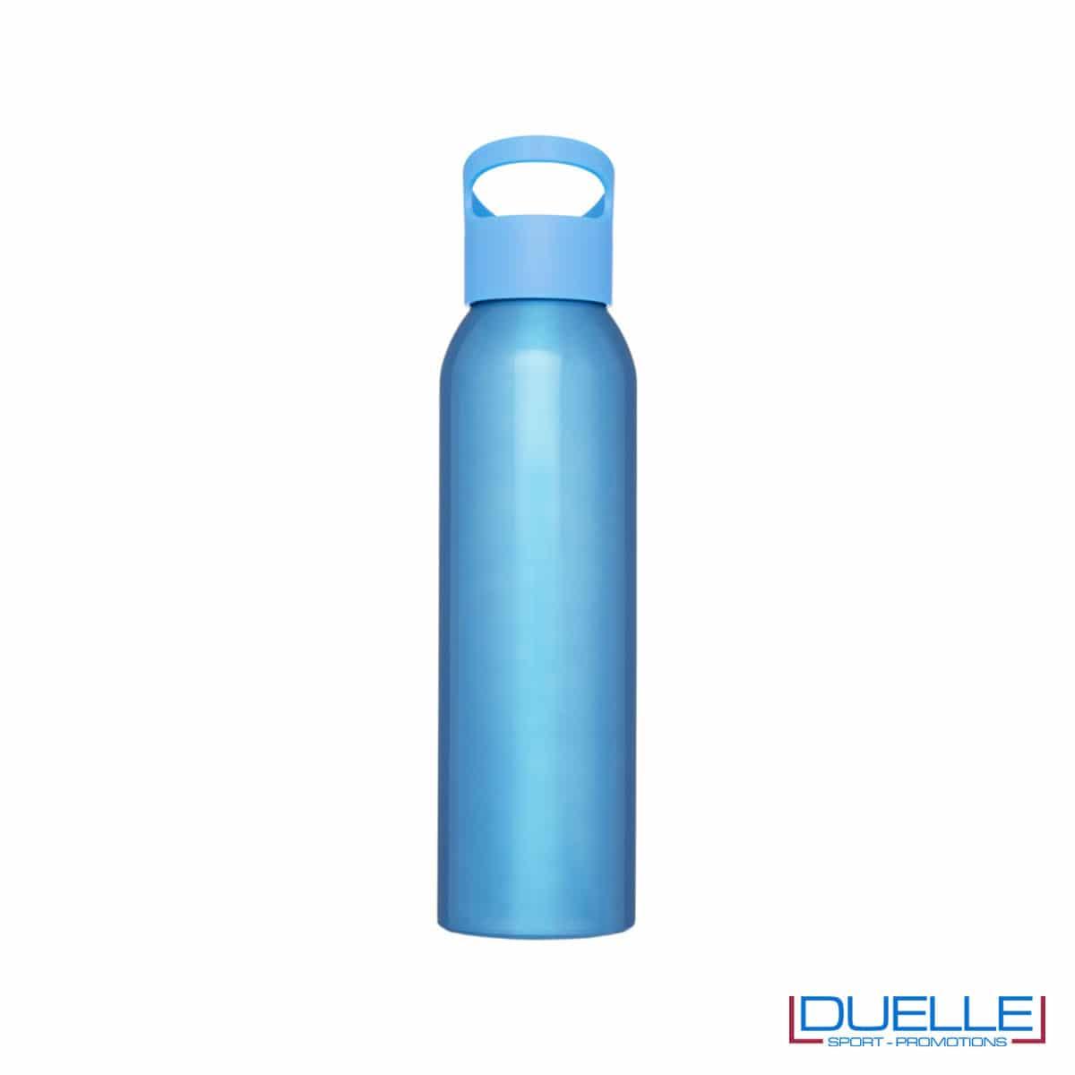 Borraccia alluminio colore azzurro con tappo in plastica