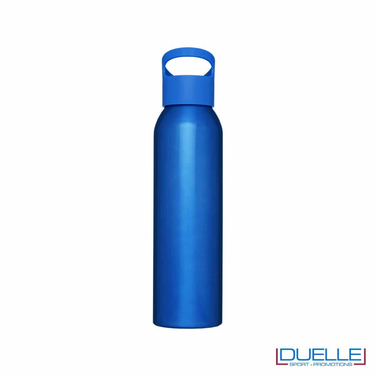 Borraccia alluminio colore blu con tappo in plastica