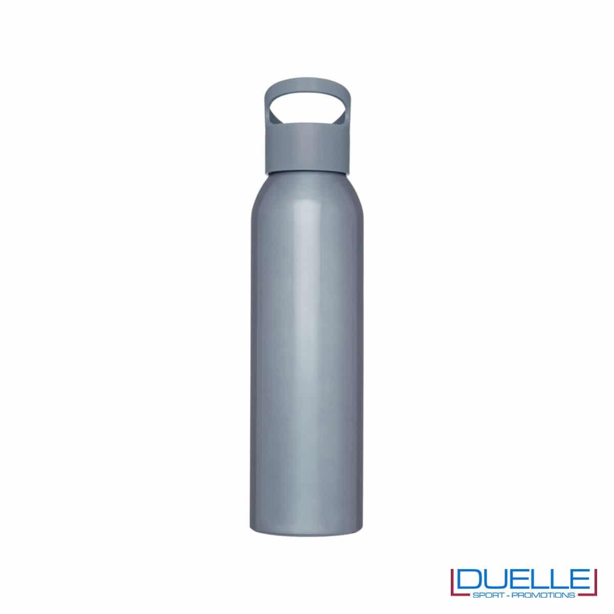Borraccia alluminio colore grigio con tappo in plastica