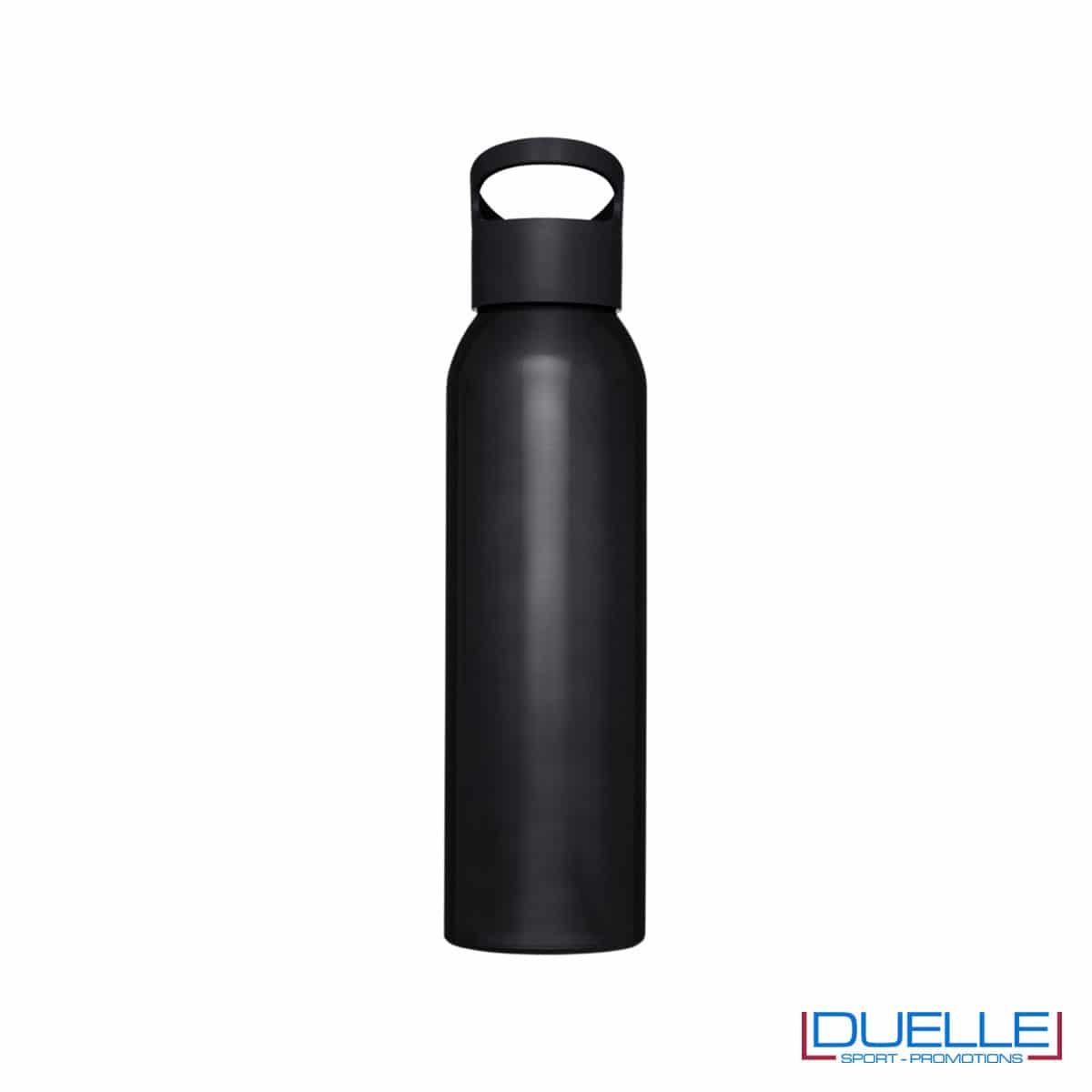Borraccia alluminio colore nero con tappo in plastica