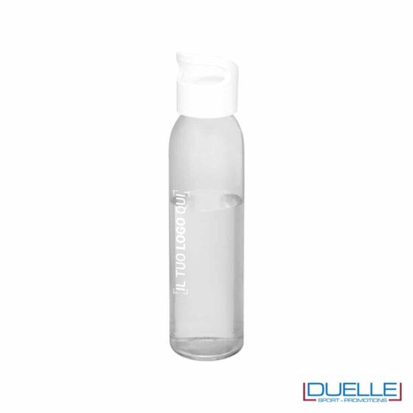 Bottiglia in vetro 650ml personalizzata con incisione colore bianco