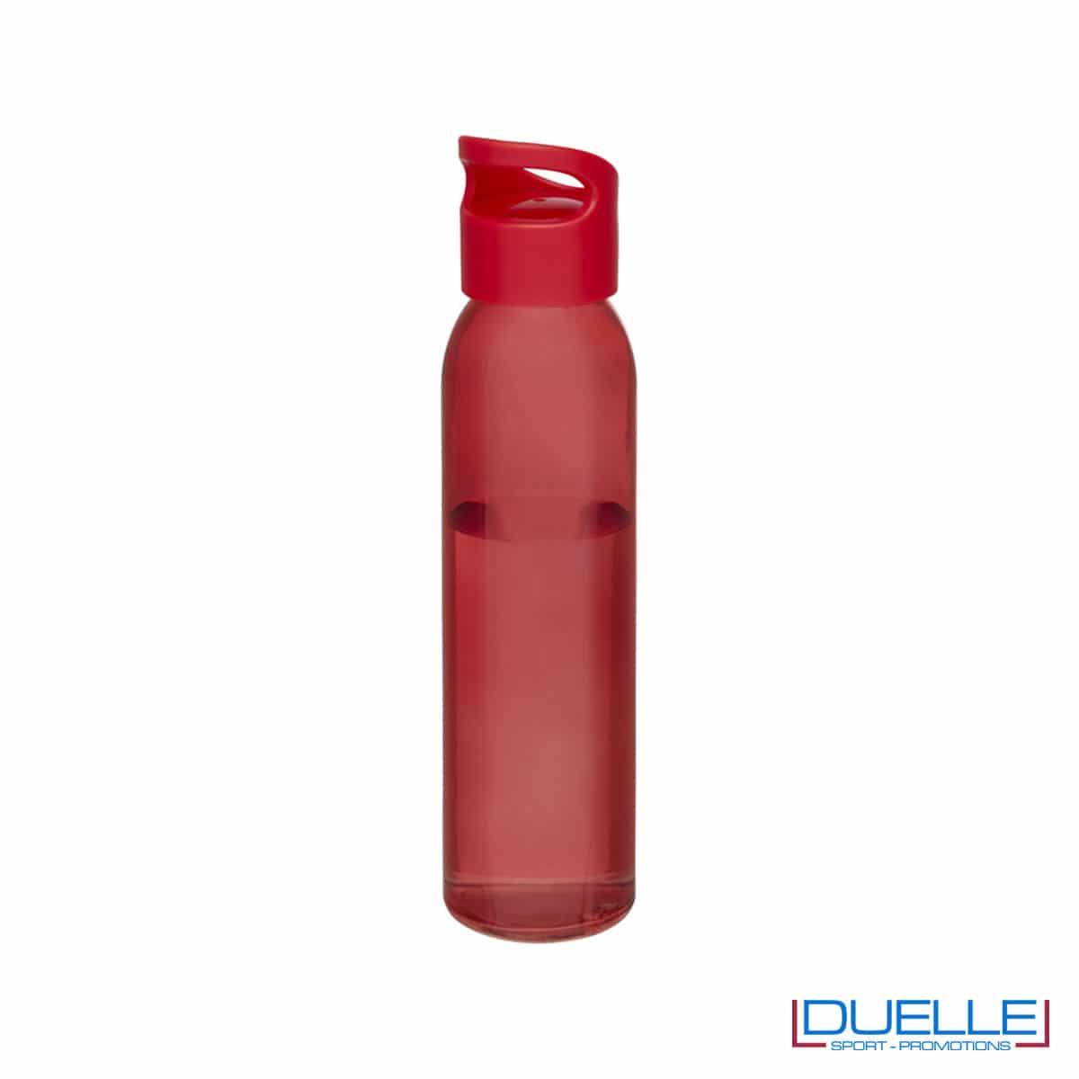 Bottiglia in vetro 650ml personalizzata con tappo con impugnatura colore rosso