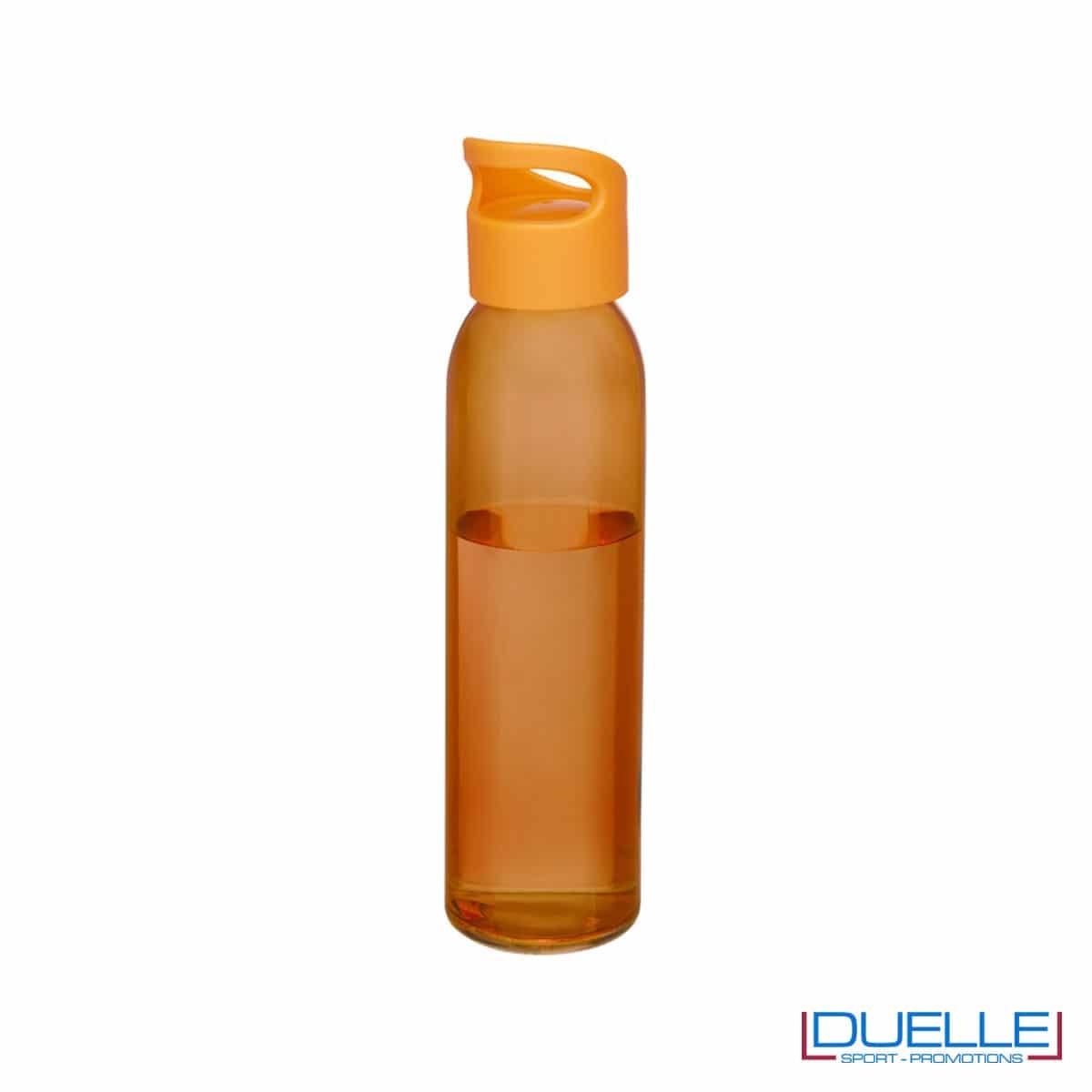 Bottiglia in vetro 650ml personalizzata con tappo con impugnatura colore arancione