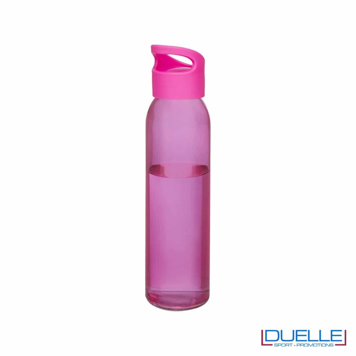 Bottiglia in vetro 650ml personalizzata con tappo con impugnatura colore rosa