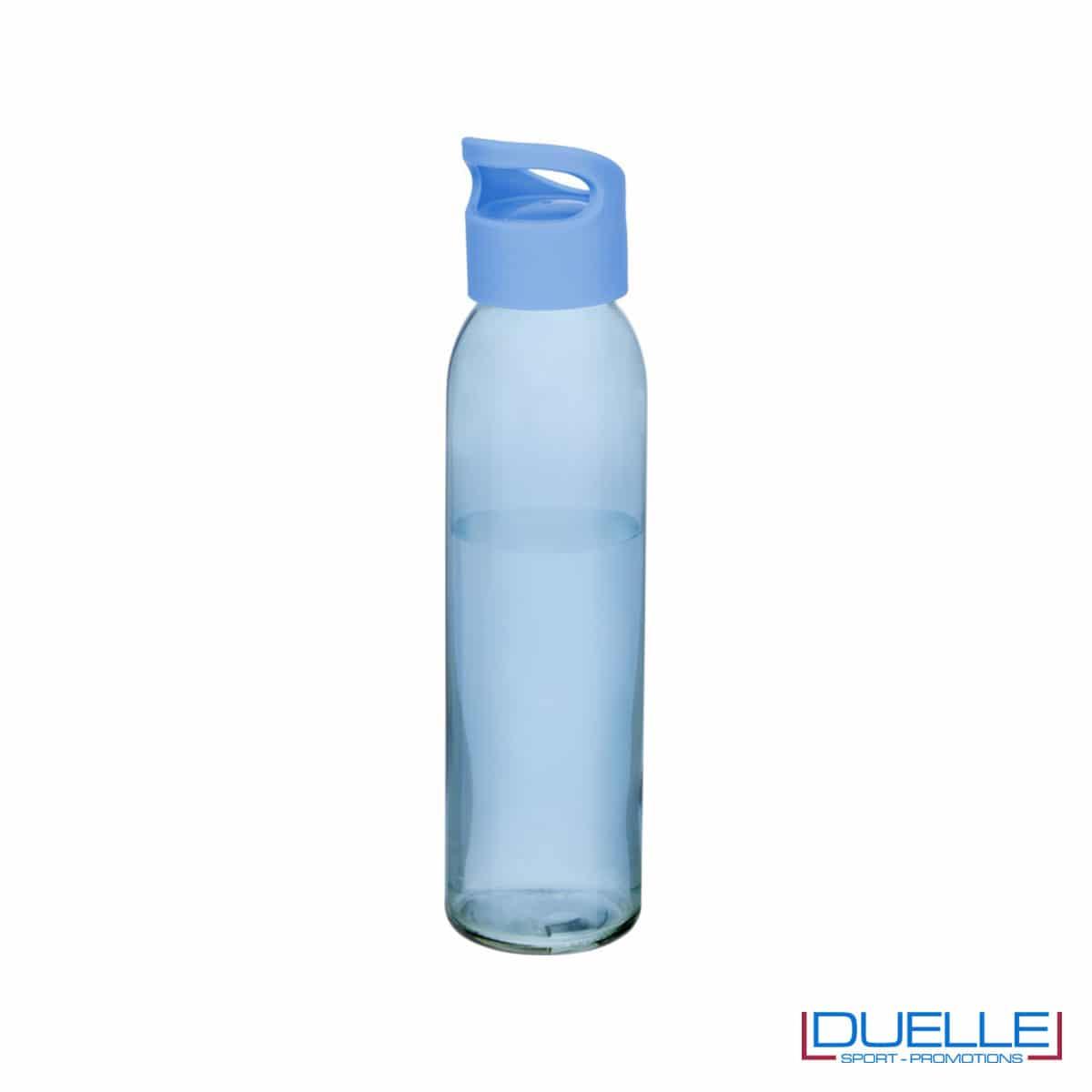 Bottiglia in vetro 650ml personalizzata con tappo con impugnatura colore azzurro