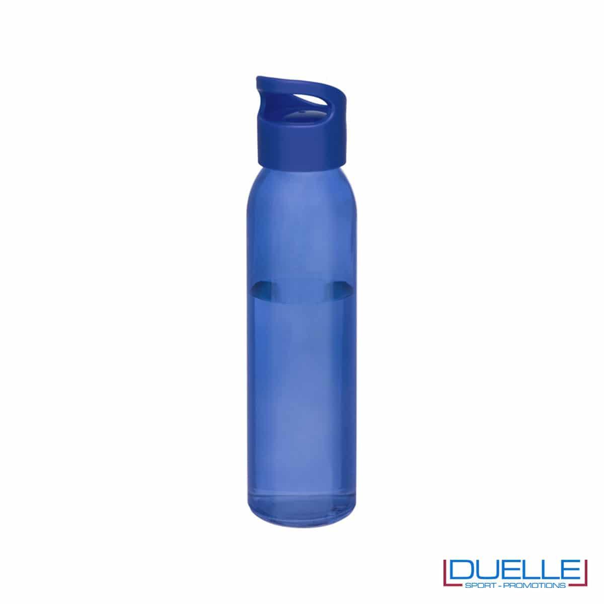 Bottiglia in vetro 650ml personalizzata con tappo con impugnatura colore blu