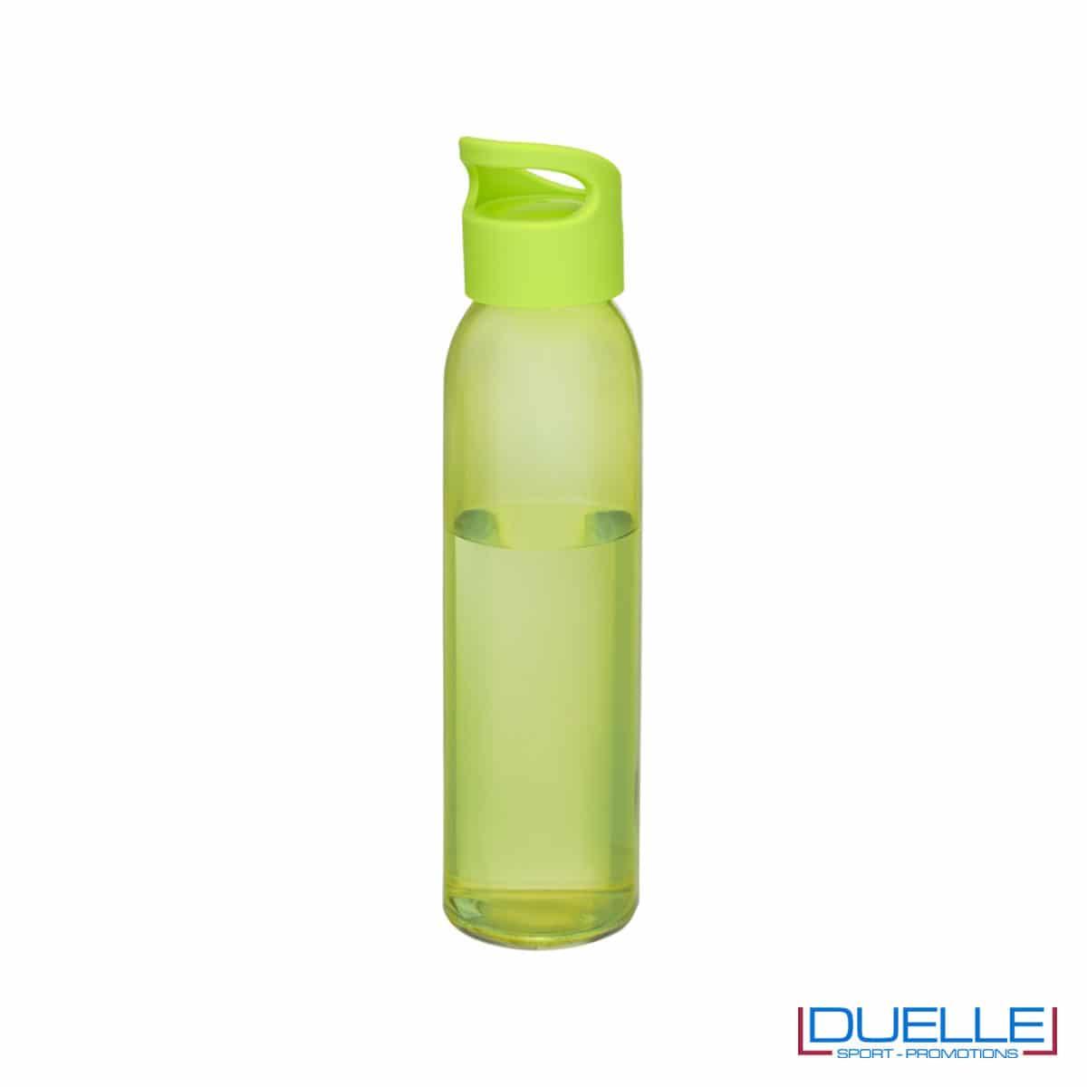 Bottiglia in vetro 650ml personalizzata con tappo con impugnatura colore verde lime