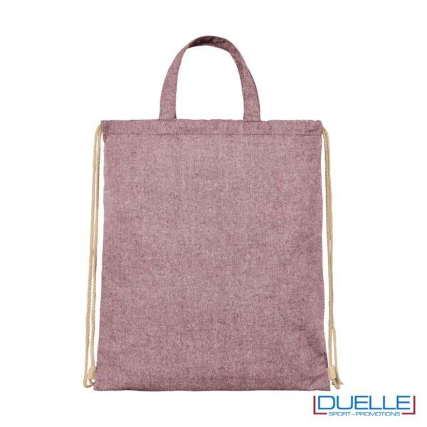 Shopper in tessuto riciclato colore bordeaux melange
