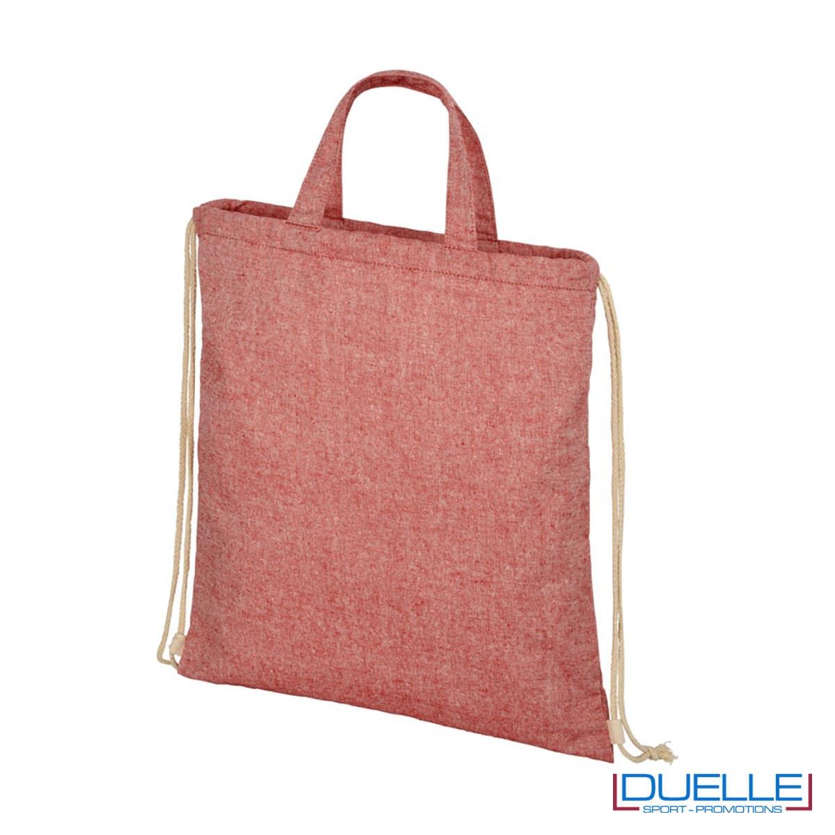 Shopper in tessuto riciclato colore rosso melange