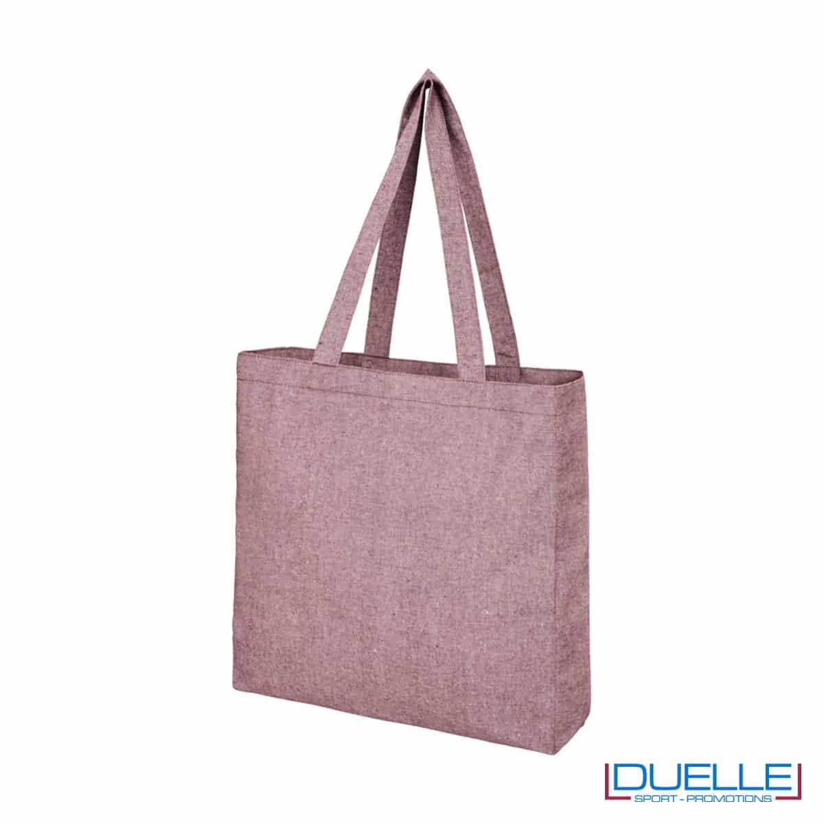 Shopper con soffietto in tessuto riciclato colore bordeaux melange
