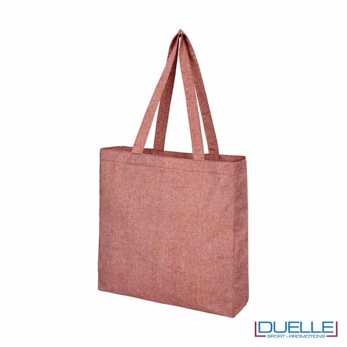 Shopper con soffietto in tessuto riciclato colore rosso melange