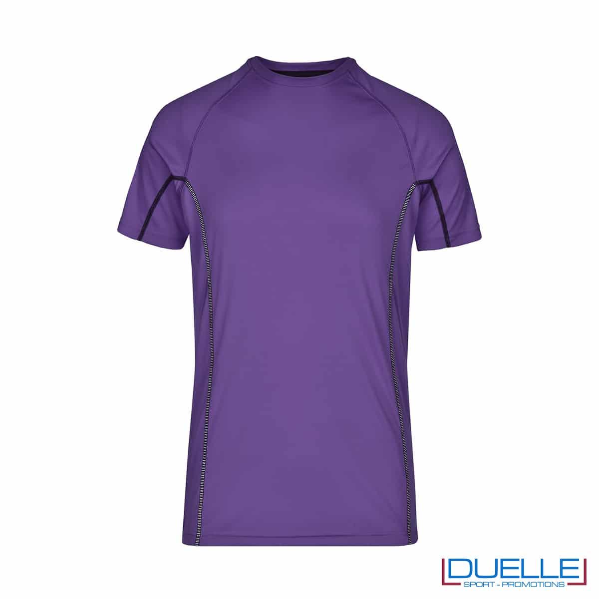 Maglia running Coolmax uomo colore viola personalizzata