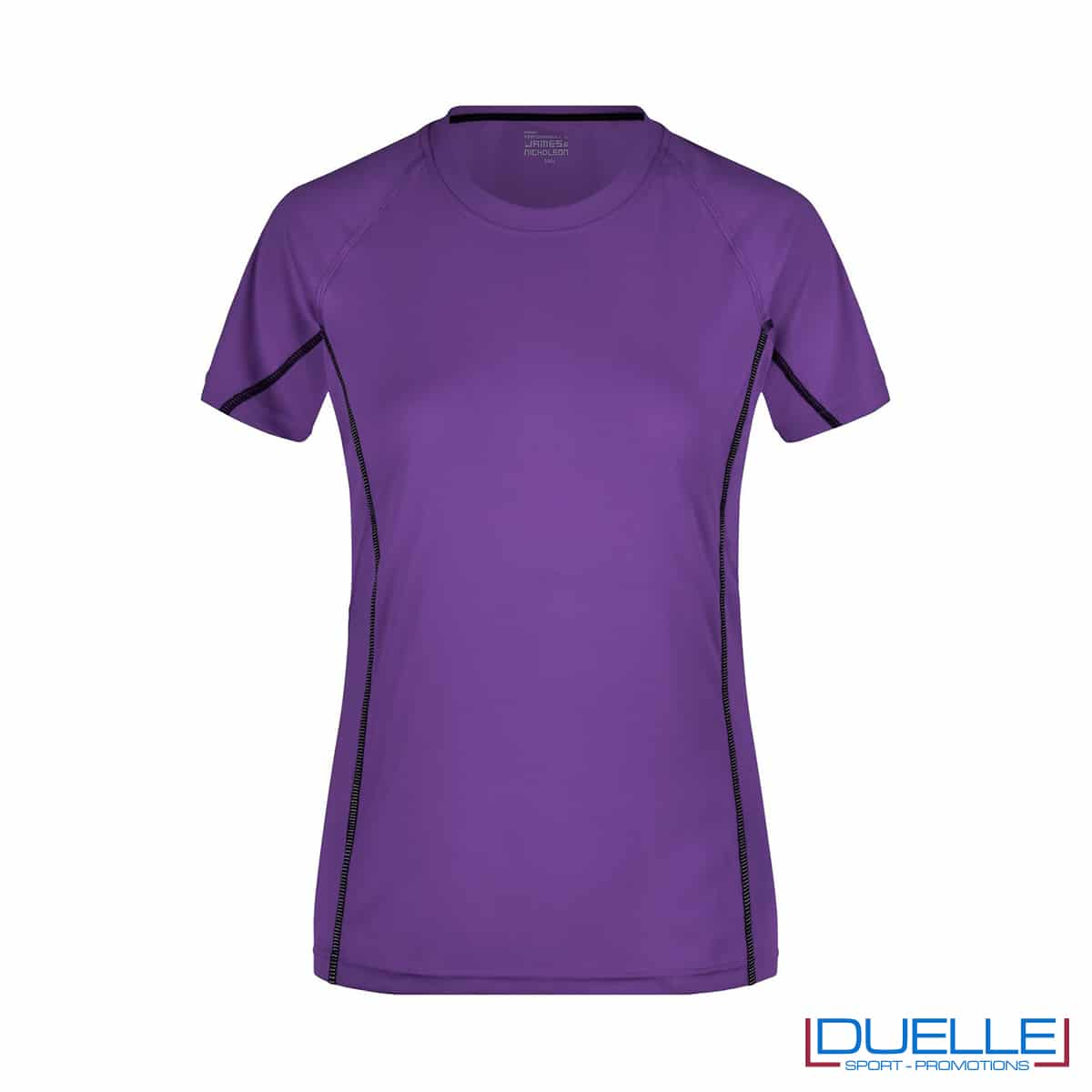 Maglia running Coolmax donna colore viola personalizzata