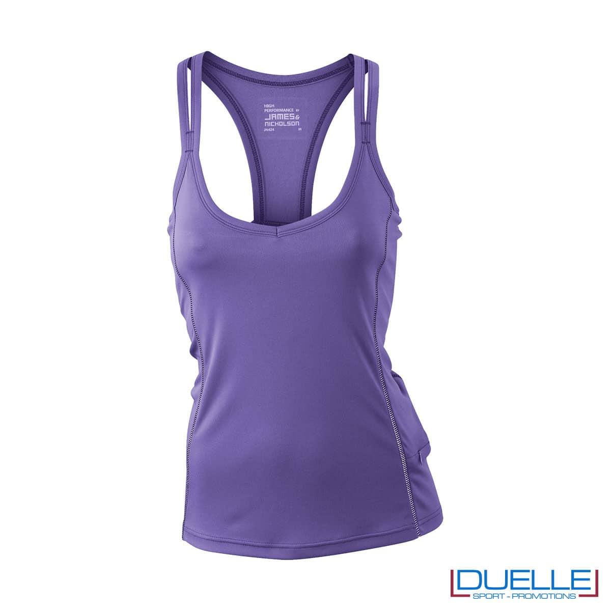 Canotta running donna colore viola personalizzabile