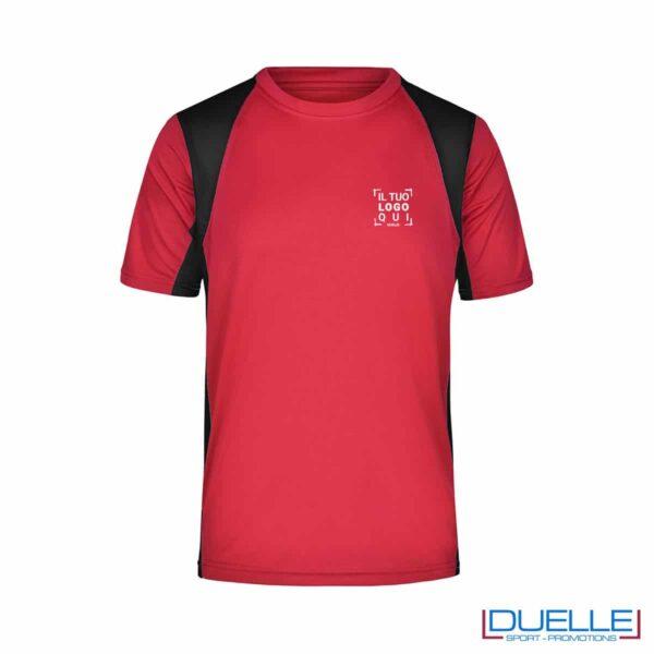 T-shirt running uomo personalizzata colore rosso-nero