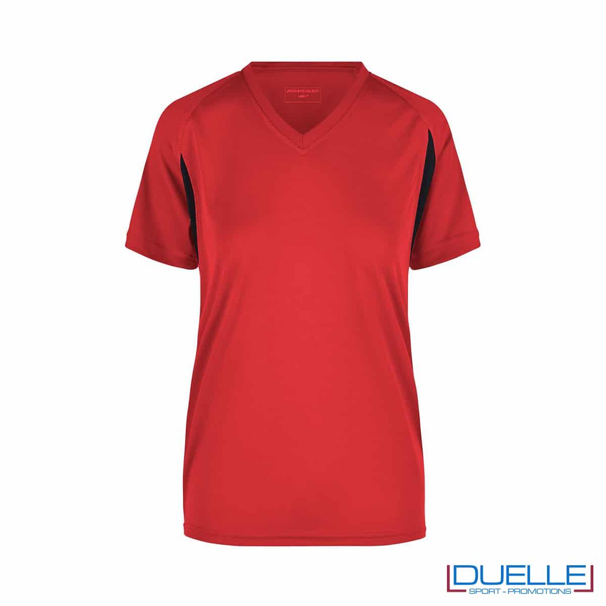 T-shirt running donna personalizzata colore rosso-nero