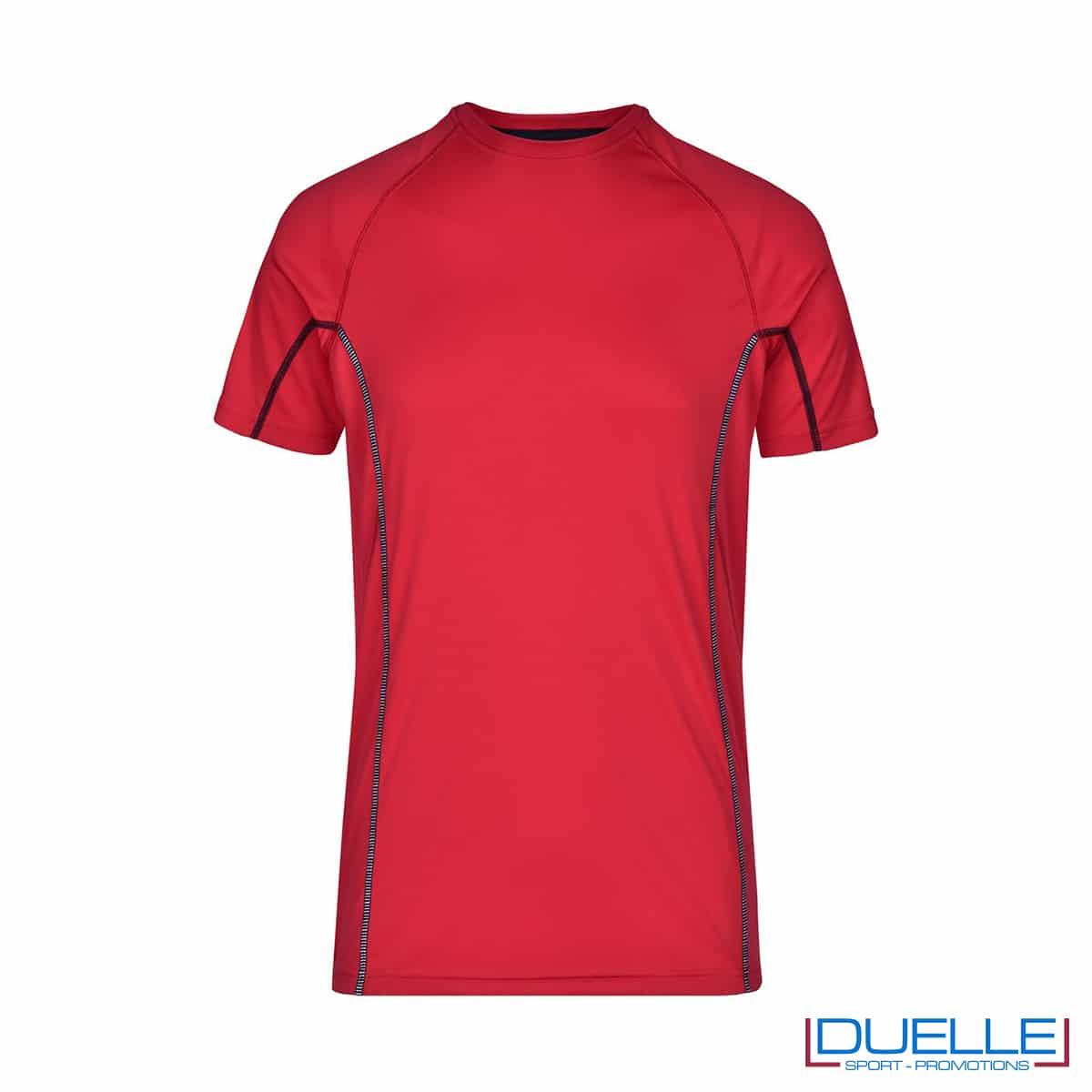 Maglia running Coolmax uomo colore rosso personalizzata
