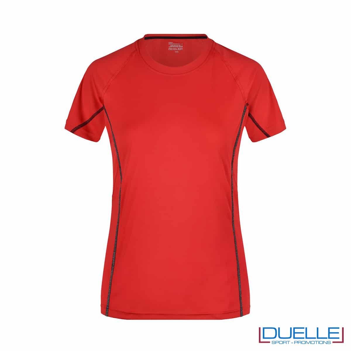 Maglia running Coolmax donna colore rosso personalizzata