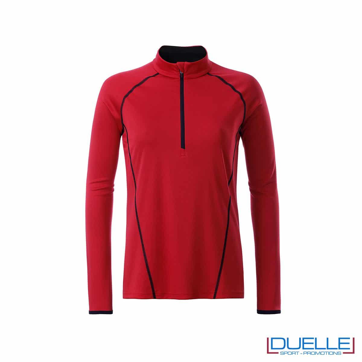 t shirt manica lunga donna colore rosso personalizzata