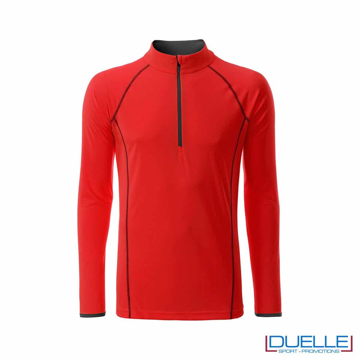 T-shirt manica lunga con zip colore rosso personalizzata