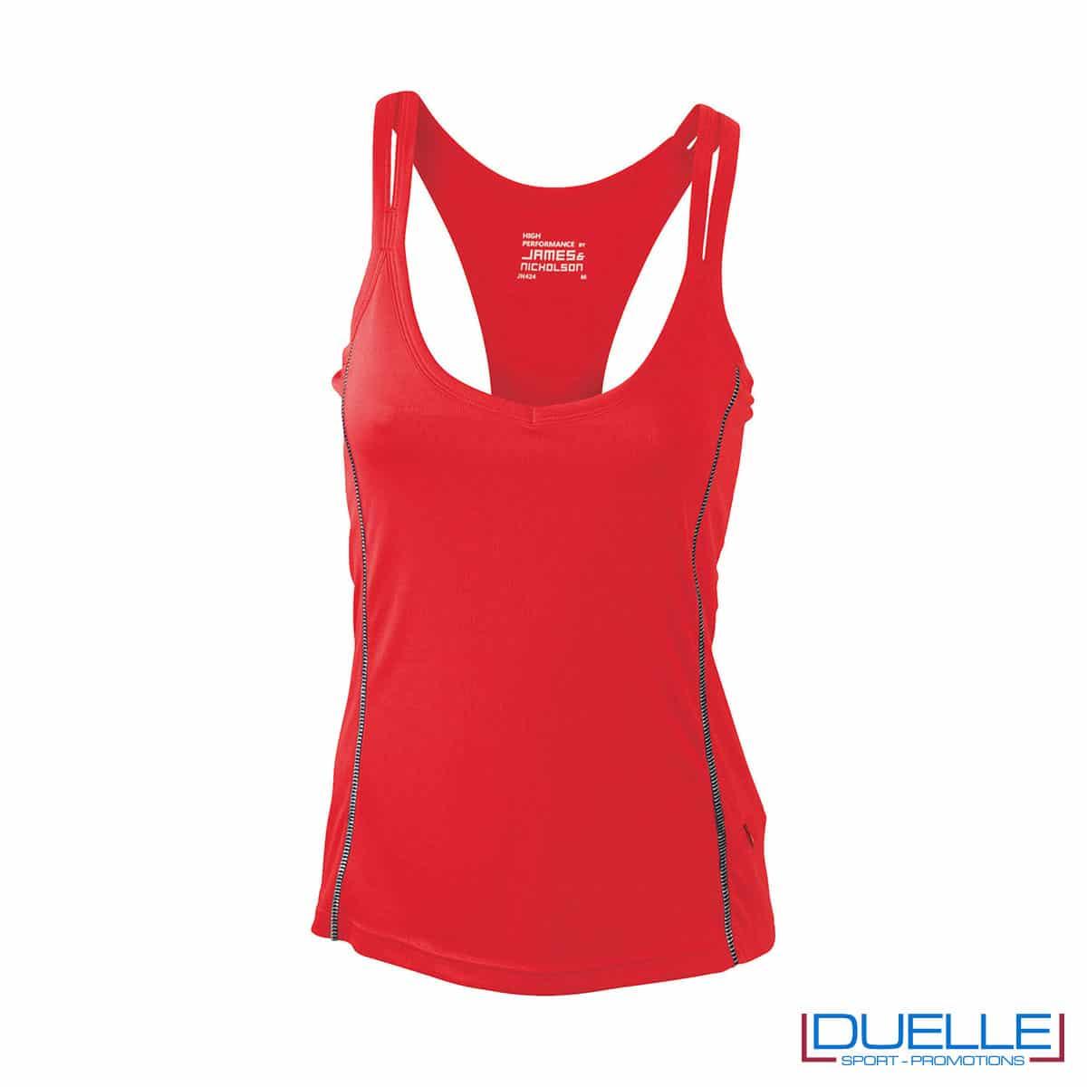 Canotta running donna colore rosso personalizzabile
