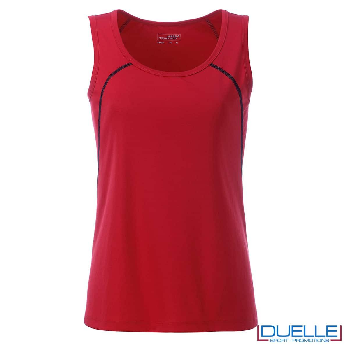 Maglia senza maniche donna rosso per sport