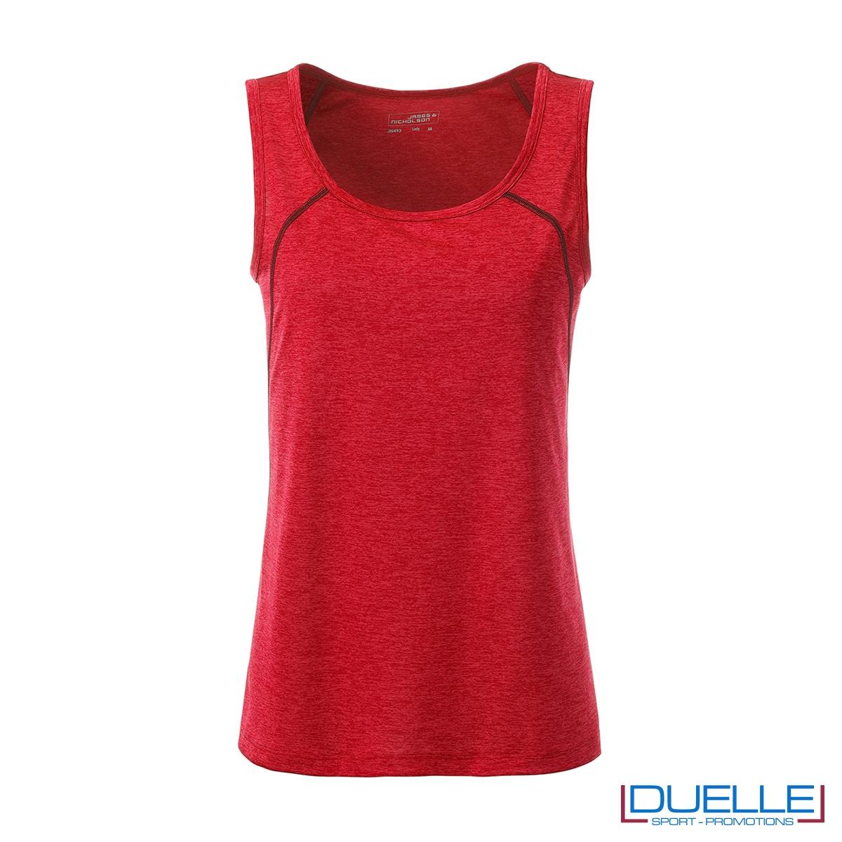 Canotta donna sport traspirante colore rosso melange