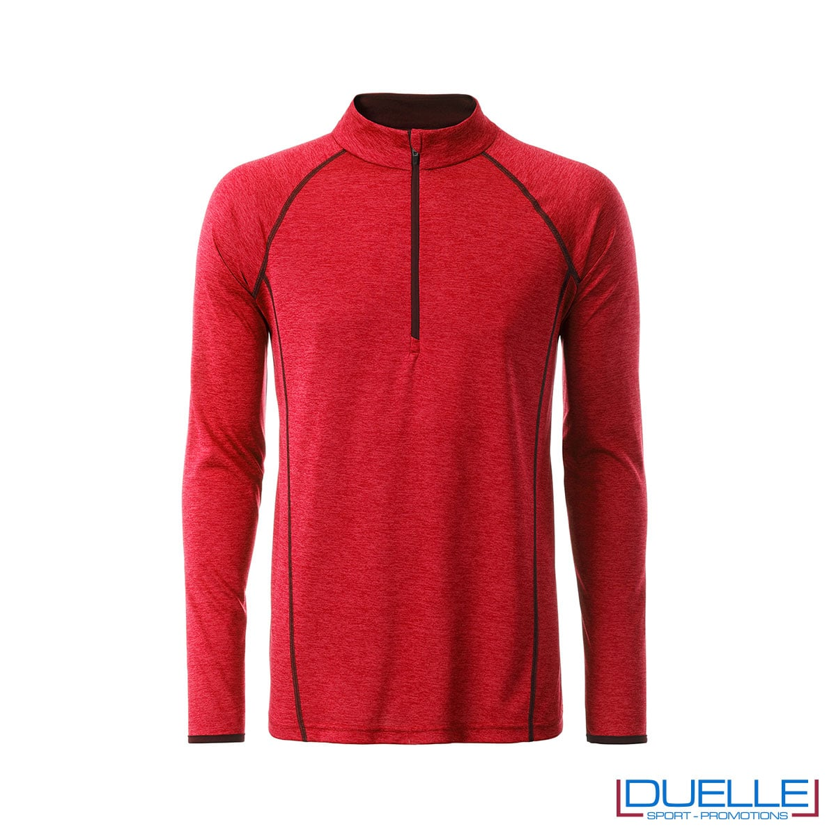 T-shirt manica lunga con zip colore rosso melange personalizzata