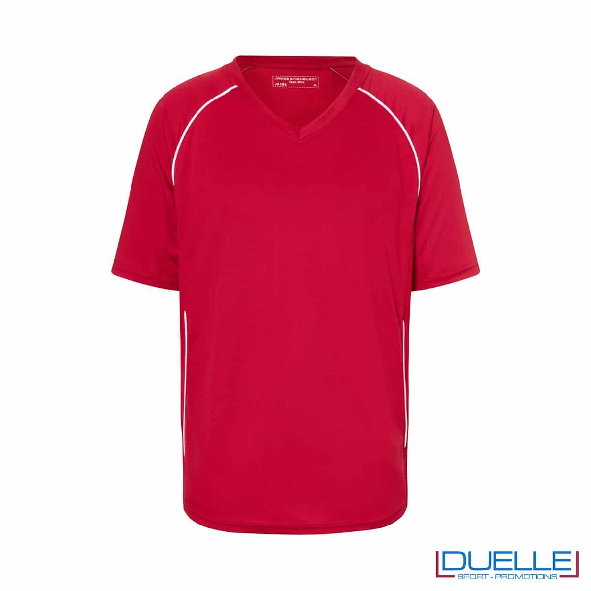 T-shirt calcio colore rosso personalizzabile