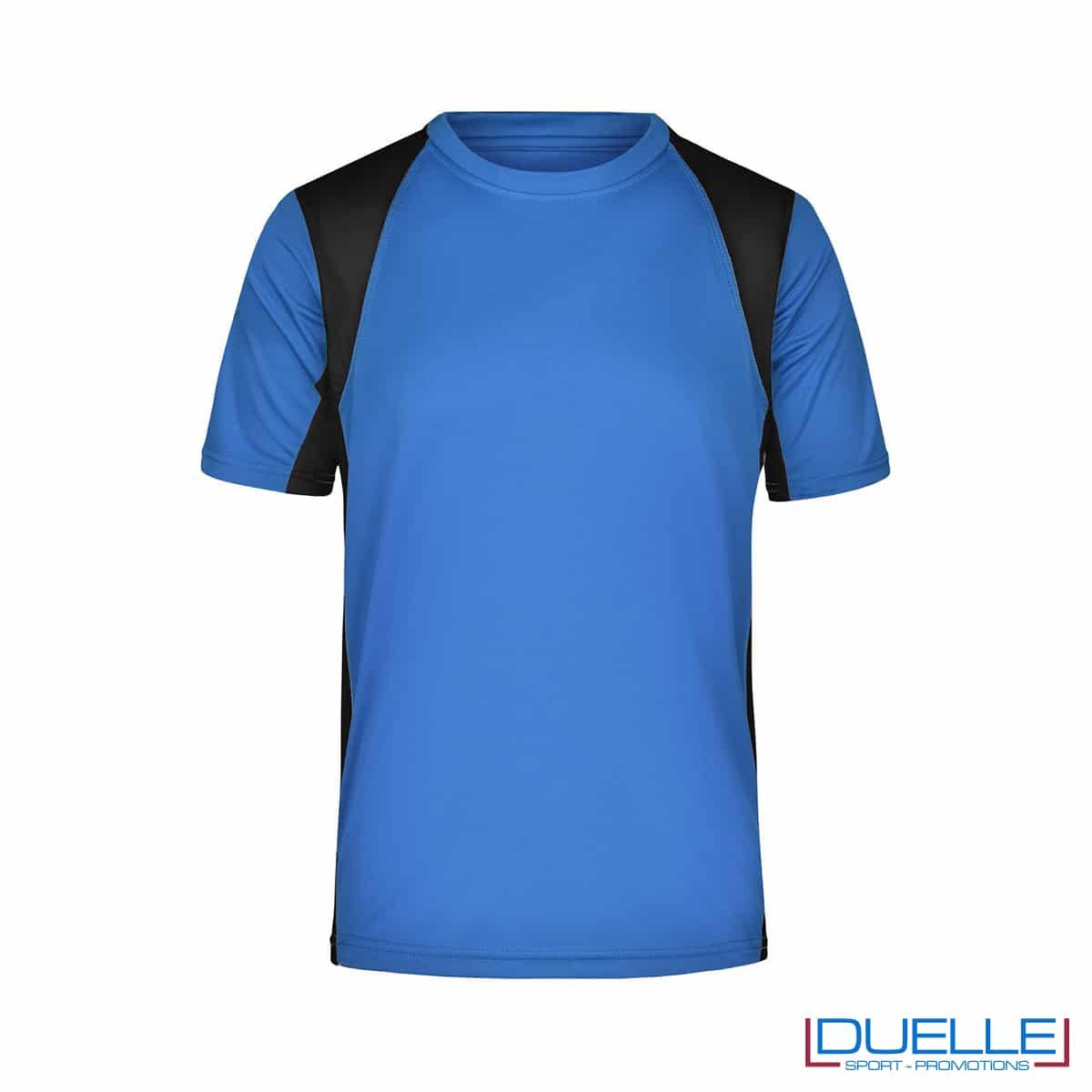 T-shirt running uomo personalizzata colore blu royal-nero
