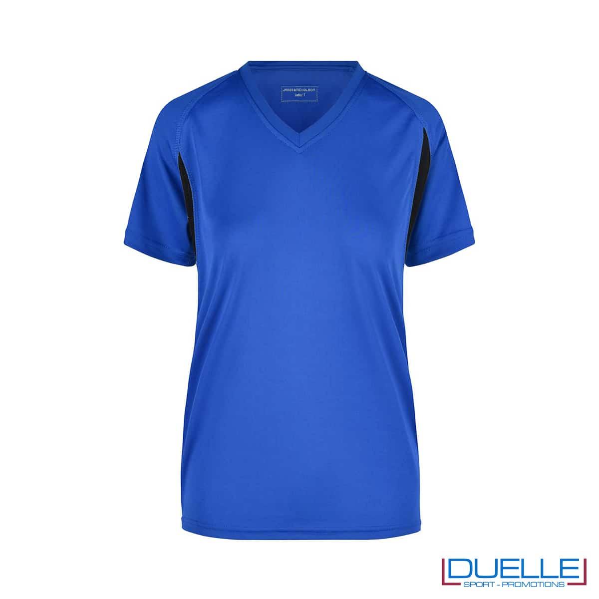 T-shirt running donna personalizzata colore blu royal-nero