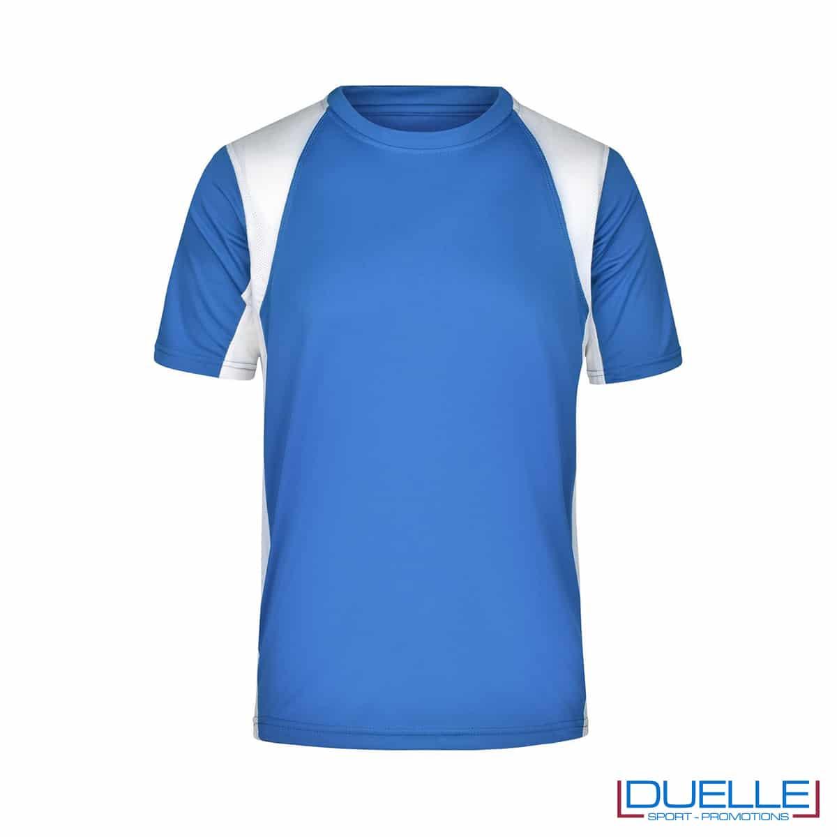 T-shirt running uomo personalizzata colore blu royal-bianco