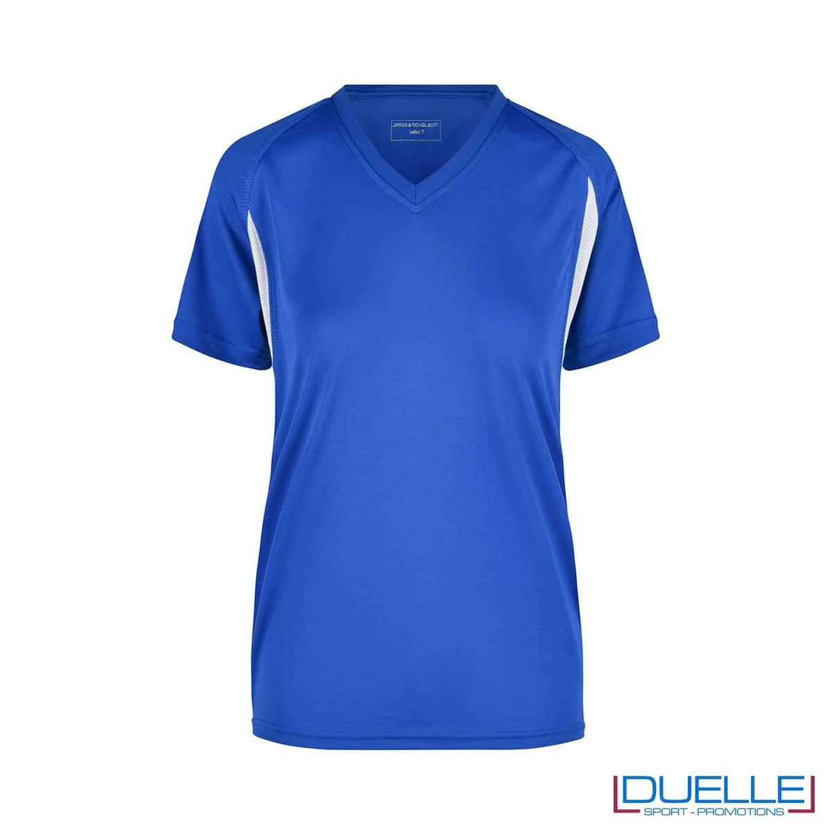 T-shirt running donna personalizzata colore blu royal-bianco