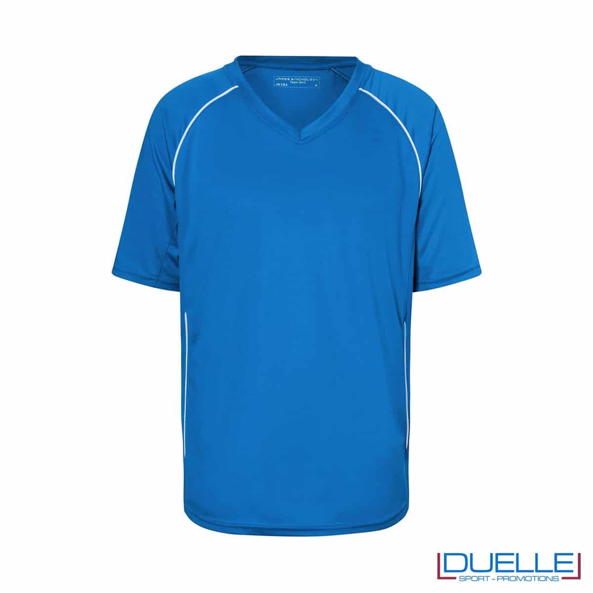 T-shirt calcio colore blu royal personalizzabile