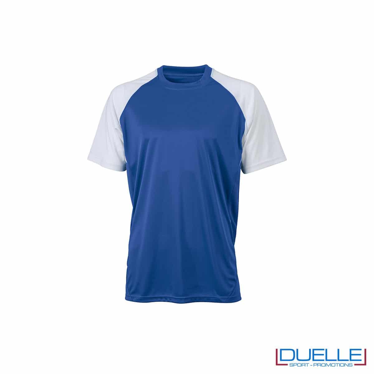 Maglietta calcio personalizzabile colore blu navy-bianco