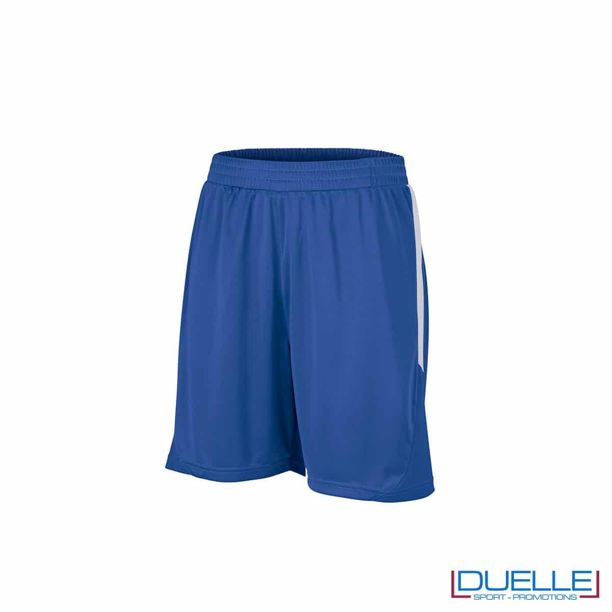 Pantaloncini calcio colore blu royal-bianco personalizzati