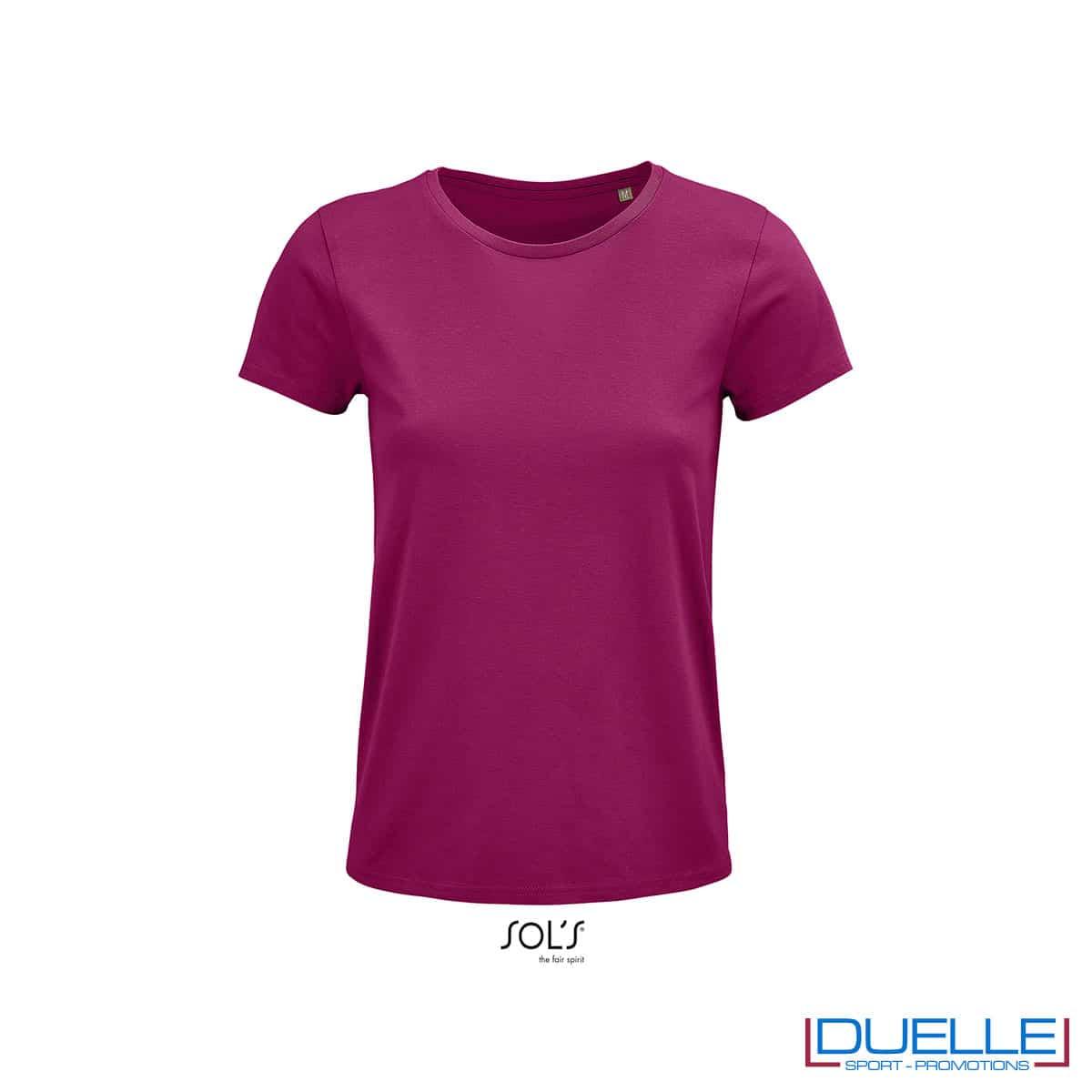 t-shirt girocollo viola donna con logo