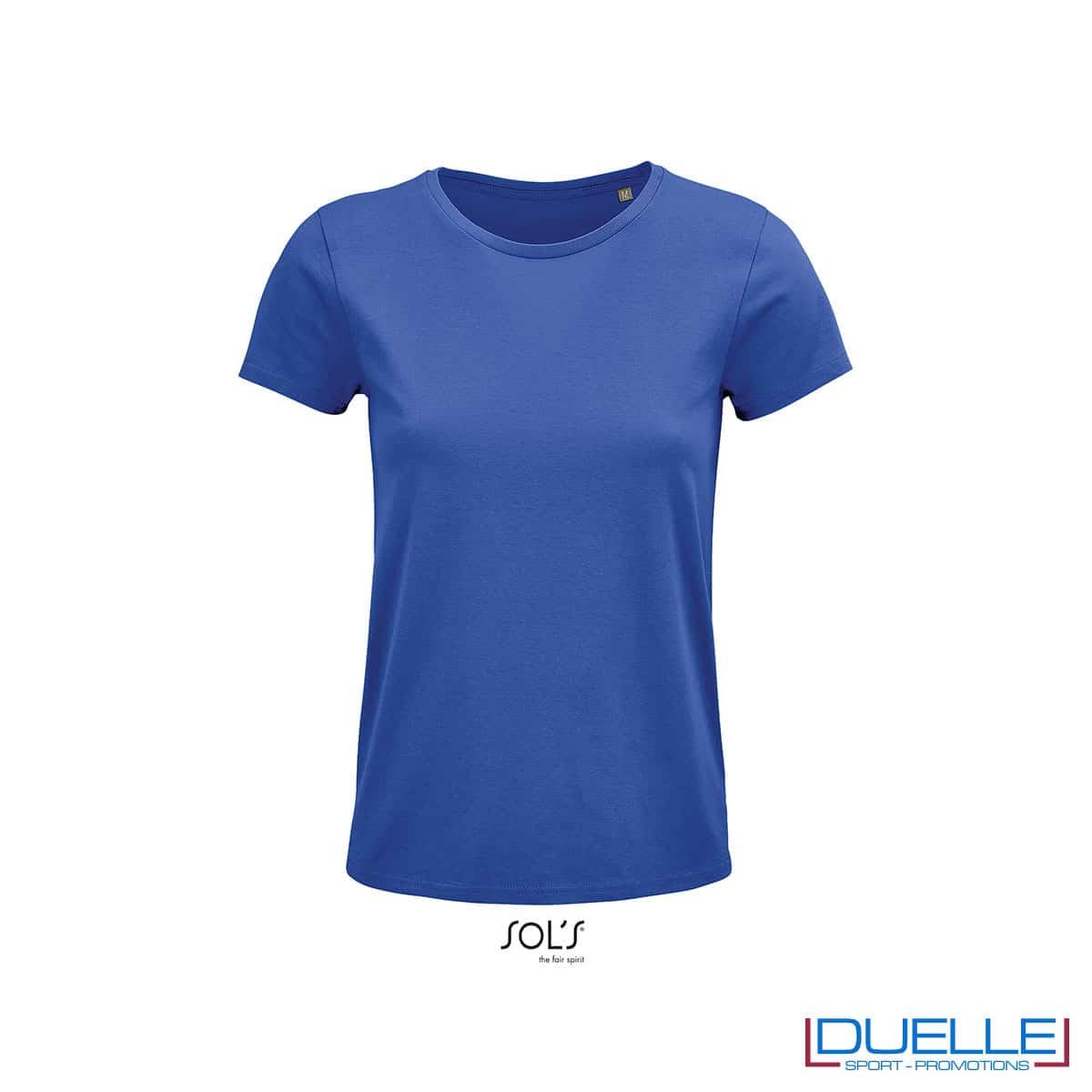 Maglietta blu royal femminile girocollo