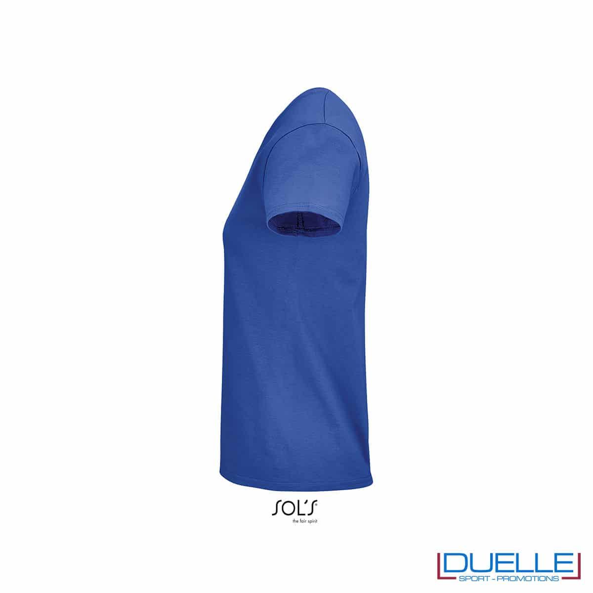 Lato maglietta blu royal femminile 100% cotone