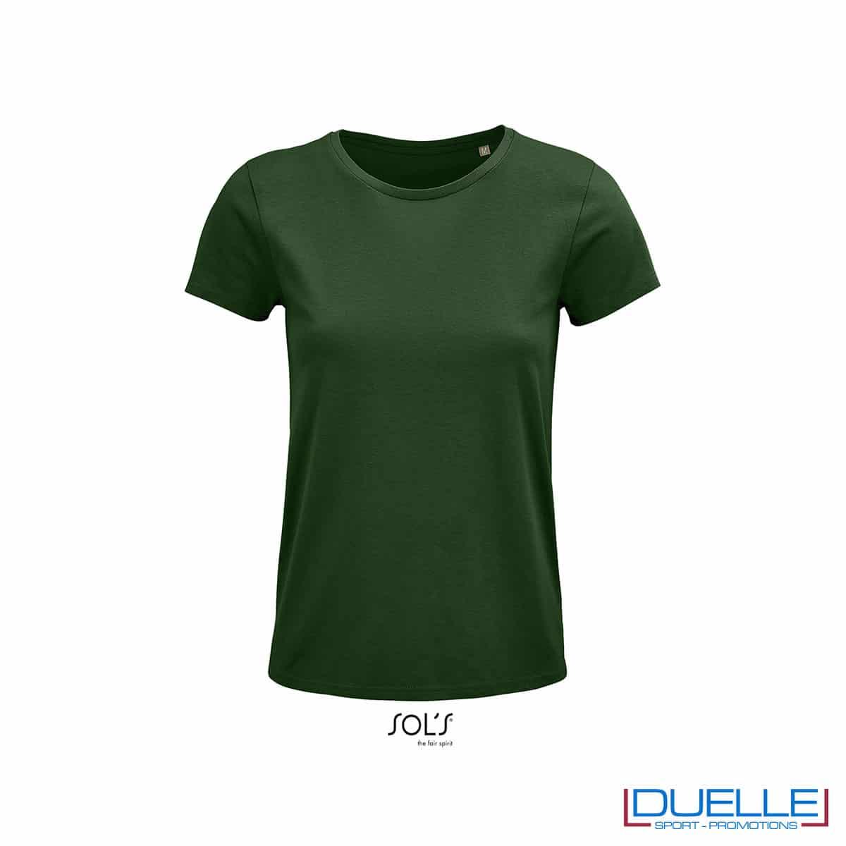 maglietta verde bottiglia girocollo woman