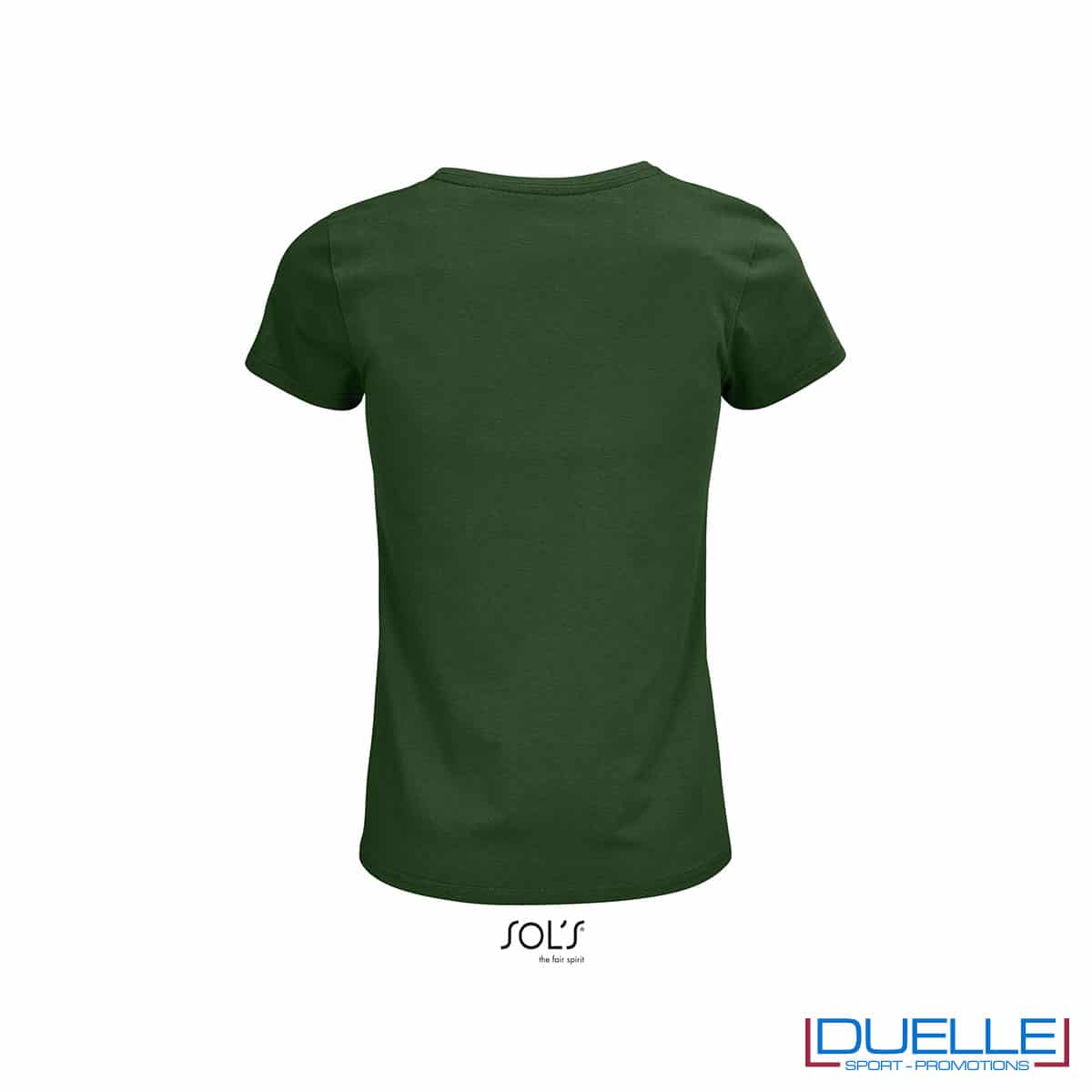 Retro maglietta donna verde bottiglia 100% cotone
