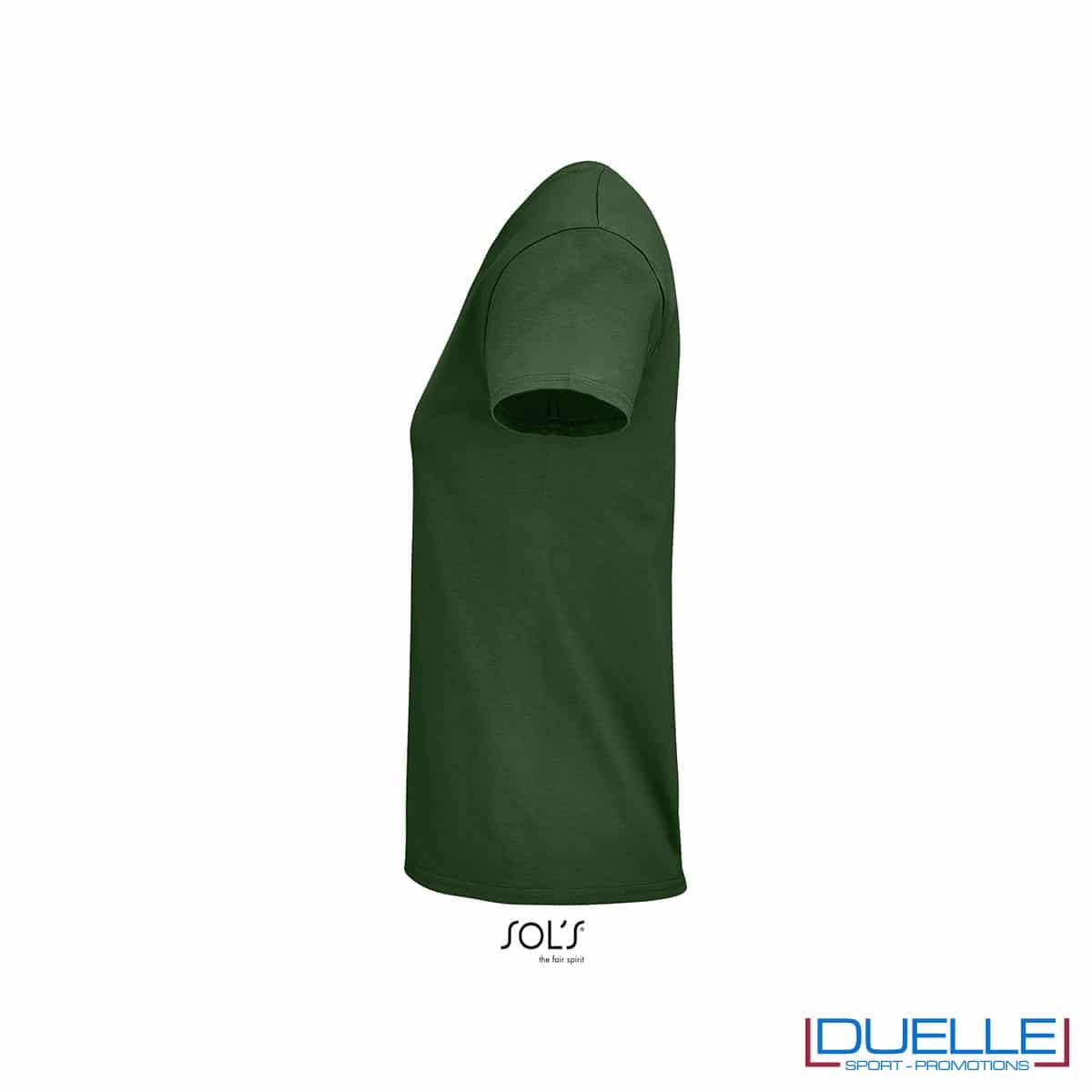 maglia femminile verde bottiglia lato 100% cotone