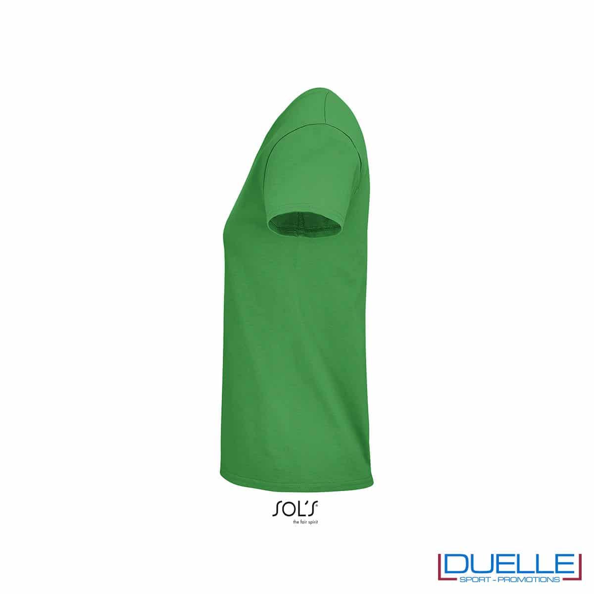 maglia donna verde lato girocollo