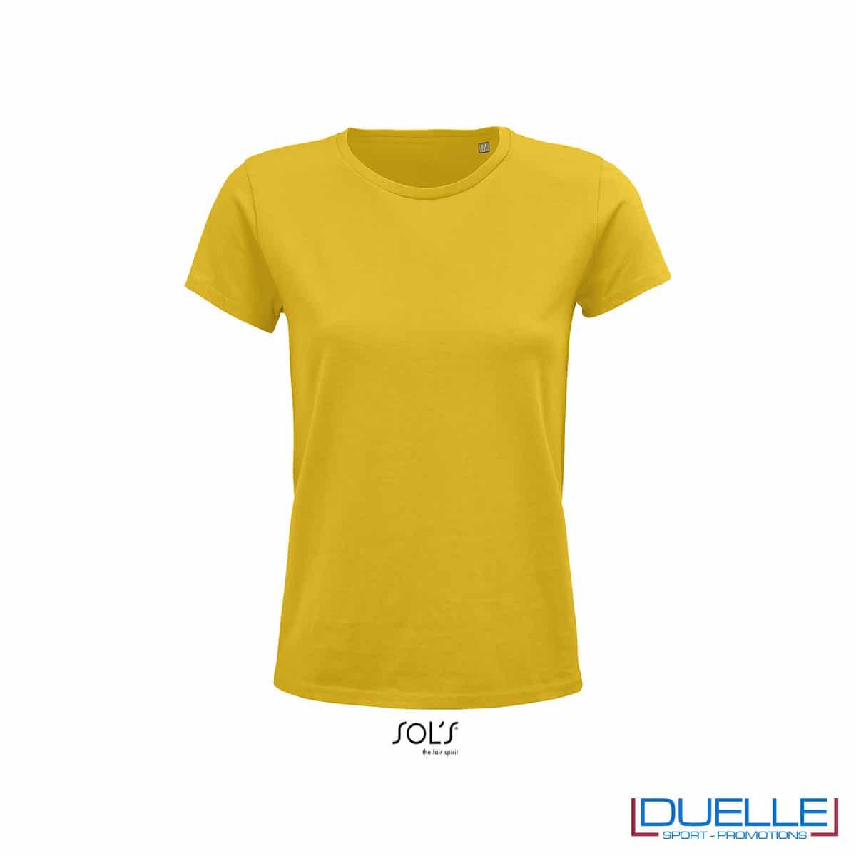 maglietta gialla donna girocollo