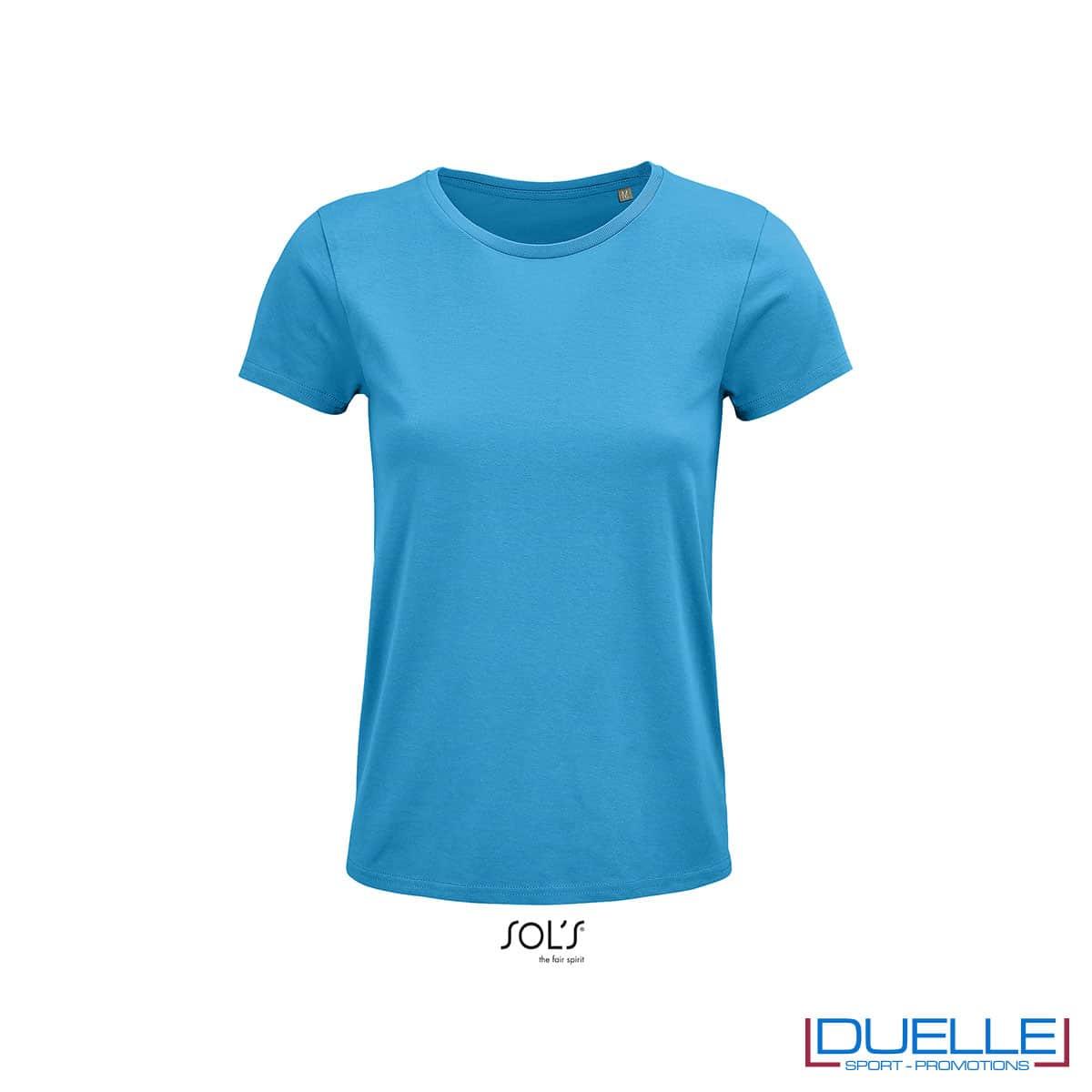 maglietta donna azzurro girocollo